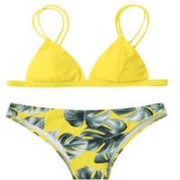 conjuntos de cami venda por atacado-Biquini preto 2019 Nova Mulher sexy do biquini Cami Folha de palmeira Impresso Biquini Swimwear Mulheres Swimsuit Push Up Branco Amarelo Set Swimsuit