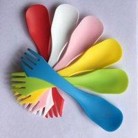 vajilla usada al por mayor-Vajilla de plástico Cuchara de plástico Tenedor exterior Vajilla de doble uso para niños Vajilla de cocina de comida occidental Utensilios de cocina 6 color