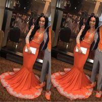 vestidos de fiesta negro naranja al por mayor-Sexy Africana Árabe Negro Niñas Sirena Naranja Vestidos de Baile 2019 Manga Larga Encaje Applieque Tallas grandes Pareja más vestidos de noche de talla BC0902