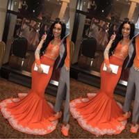 ingrosso black lace dress for plus size-Sexy africano nero arabo ragazze sirena arancione prom dresses 2019 manica lunga pizzo applieque plus size coppia plus size abiti da sera BC0902