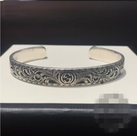 ingrosso braccialetto d'argento del lupo-Vintage intaglio fiore 925 Sterling silver gg bracciali lusso rotondo polsino del progettista lupo braccialetto uomini donne gioielli regalo di marca amante