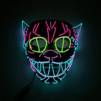 Wholesale neon cosplay for sale - Group buy Halloween Neon Nightlife Mask LED Masks Glow Scary Mask Light Up Cosplay Fullface Decoration Masks Glow In Dark New