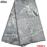 venta de cuentas africanas al por mayor-Tela de encaje africano blanco 100% de alta calidad tela de encaje de malla de tul africano con lentejuelas y perlas venta caliente vestido de novia F4-680