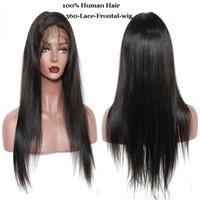 hint patlaması toptan satış-Düz 360 Dantel Frontal Peruk Bang ile Doğal Saç Çizgisi Brezilyalı Hint 100% Virgin İnsan Saç Doğal Siyah Renk 8-28 inç
