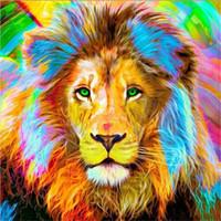 löwe malerei wohnkultur großhandel-5D diy diamant malerei kreuzstich kit strass voller roundsquare diamant stickerei tier farbe lion hause mosaik dekor geschenk BB0080