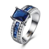 anéis de prata esterlina de safira de prata venda por atacado-mulheres Wedding Band moda Blue Sapphire Anel S925 esterlina presentes de casamento para amigos as meninas esposa