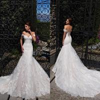 corazon sirena cariño al por mayor-Vintage fuera del hombro sirena vestidos de novia 2019 encaje completo apliques corsé espalda vestidos de novia vestidos de boda de playa