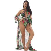 biquíni sexy venda por atacado-2019 New Bikini Sexy Apertado Mulheres de Duas Peças Conjunto Bandage Tie Dye Dois-desgaste Conjunto de Verão Bodysuit E Cardigan Conjuntos de correspondência