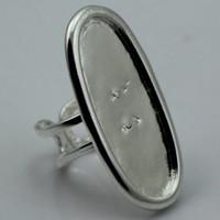 anillo de ajuste de bisel ovalado al por mayor-Beadsnice Base de anillo de ajuste de anillo de bisel grande para hacer joyas Ajustable Forma ovalada de bronce antiguo Sin níquel ID sin plomo 1875