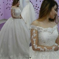 Wholesale crystal brides dress dubai resale online - Arabic Dubai Ball Gown Princess Wedding Dresses Long Sleeves Lace Appliques Church Formal Bride Bridal Gown Plus Size Custom Made