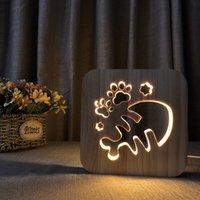 ingrosso lampada ossea-Creativo novità in legno Fish Bone lampada USB Night Light in legno massello intaglio Hollow Night Lamp per camera da letto decorazione regalo luce