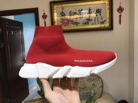 meias femininas à venda venda por atacado-2019 Venda Quente Designer de moda bota para as mulheres homens Speed Trainer Triplo Vermelho Preto Plana sapatos casuais Meia Bota mens sapatilha sapato