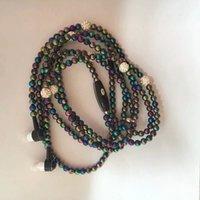 ingrosso diamante 3.5mm-Diamond Earphone Pearl Beads Earphones collana con microfono Fashion Girls Phone Earbuds Headset 3.5MM Jack per MP3 iPhone iPod Android Phones