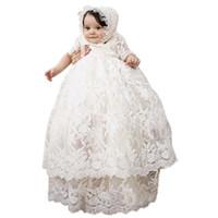 ingrosso cappelli di battesimo del bambino-Neonate neonato battesimo abito lungo pizzo pieno bambino battesimo vestiti abito baby girls compleanno con bonnet