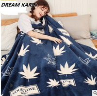 Wholesale korean sofa resale online - DREAM KARIN Coral flannel extra thick edge blanket single and double students dormitory sofa nap blanket