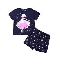 kinder stern pyjamas großhandel-Kinder Mädchen Kleidung Set Kurzarm Floral Star Print T-shirt Tops Shorts 2 STÜCKE Pyjamas Nachtwäsche Sommer Baumwolle Mädchen Outfits
