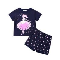 pijamas niños estrella al por mayor-Ropa para niños niñas Conjunto de manga corta Floral Estampado de estrellas T-shirt Tops Shorts 2 UNIDS Pijamas Ropa de dormir Verano Algodón Ropa de niña