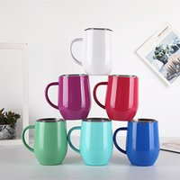 Wholesale tea pottery for sale - Group buy 12oz Egg Cups Wine Glasses Vacuum Insulated Mugs Stainless Steel Cup with lid Handle Handgrip Coffee Tea Tumbler GGA2392