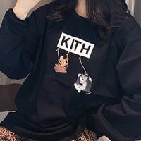ingrosso formaggio gatto-19ss Kith x Tom Jerry LS Tee Friend Cheese Tee manica lunga Felpa gatto e topo Cartoon Fashion High Street T-shirt Pullover HFYMWY256