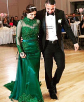 vestido vintage longo al por mayor-Vestidos fiesta sirena vestido de noche árabe de cuello alto de encaje verde de cosecha con desmontable tren Vestido Longo De Formatura