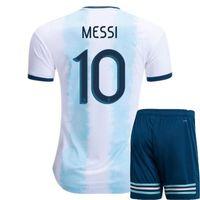 pantalones cortos de fútbol de argentina al por mayor-Jersey de fútbol de los hombres de la Copa América Argentina 2019, pantalones para el hogar Kit Jersey de fútbol # 10 MESSI # 11 DI MARIA camisetas de fútbol camiseta de uniforme, pantalones cortos