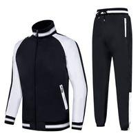 vêtements à double couture achat en gros de-Mens 2019 Designer De Luxe Vêtements Longueur Manches Broderie Noir Blanc Double Couleur Couture Lambrissé Hommes Survêtement