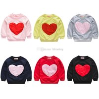 Wholesale Kids Love Sweatshirt Heart shaped print Sweaters children Girls Tops Long sleeve T shirts Spring Autumn Tees baby Clothing C5767