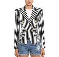 Top Quality Original Design Women's Classic Stripe Blazer Double-Breasted Blazer Business Wear Metal Buckles Jacket Blending Coat Outwear