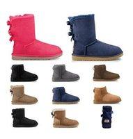 kürk ayakkabıları siyah kadınlar toptan satış-kış siyah kestane moda kadın ayakkabı boyutu 36-41 Ucuz tasarımcı Avustralya kadınlar klasik kar botları ayak bileği kısa yay kürk çizme