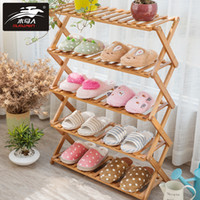 Wholesale large tiers resale online - Foldable Multi Tier Shoe Stand Shelf Large Storage Shoe Rack Multiple Use Bamboo Organizer for Household Room