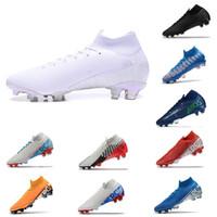 cr7 sapatos pretos venda por atacado-Nike Mercurial Superfly 7 VII Elite FG Chuteiras Blue Hero Superfly Mercurial 7 360 FG Elite Chuteira Laranja CR7 Chuteiras Ronaldo Prendedor Preto