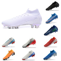 zapatos negros cr7 al por mayor-Nike Mercurial Superfly 7 VII Elite FG Cleats Azul Hero Mercurial Superfly 7 360 FG Elite Orange Cleat CR7 Zapatos de fútbol Ronaldo Black Cleat
