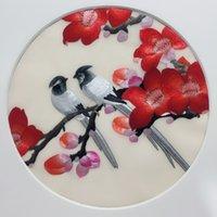 ingrosso opere di ricamo cinese-Il ricamo etnico cinese di Suzhou del doppio-lato lavora il filo di seta intorno 20cm per l'abbigliamento Fan della mano che appende gli ornamenti della decorazione della pittura