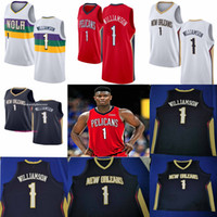 Wholesale basketball jerseys blue for sale - Group buy NCAA New Orleans Pelicans Zion Williamson White Blue Red white Swingman Basketball Jerseys