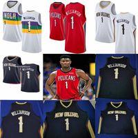 blau rot großhandel-NCAA New Orleans 2019 Pelikane 1 Zion Williamson Weiß Blau Rot Weiß Swingman Basketball-Trikots