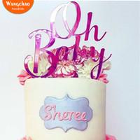 ingrosso cappello della torta dell'acquazzone del bambino della ragazza-Oh Baby Acrilico Happy Birthday Cake Topper Girls Boys Baby Shower Decorazione per feste Cupcake Toppers Cake Decor Supplies