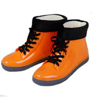 Wholesale h boots resale online - Hot Sale h Shoes Woman Rain Woman Water Rubber Ankle Boots Cross tied Botas