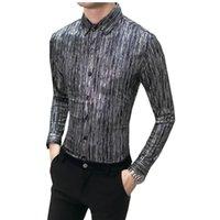 254264867 Pop Agradável Outono Homens Camisas Casuais Moda Manga Longa Marca Impresso  Button-Up Formal de Negócios Floral Dos Homens Vestir Roupas Camisa