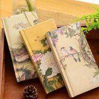 cadernos de arte venda por atacado-Superfície de seda requintado notebook papelaria estilo chinês notepad portátil criativo diário livro de arte para os alunos