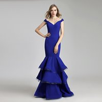 Wholesale long skirt dress photos resale online - Royal Blue Mermaid Prom Dresses Sexy Elegant Long Evening Occasion Gown Party Wear LX522 Ruffle Skirt