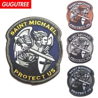 ingrosso badge angeli-GUGUTREE HOOkLOOP ricamo angelo patch saint michael patch badge patch applique per abbigliamento SP-493