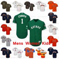 camisetas de beisbol naranja en blanco al por mayor-Mens Mujeres Houston Astros Jersey juvenil # 1 Carlos Correa en blanco Jersey jugadores de color naranja fin de semana Verde Saludo al Servicio jerseys del béisbol
