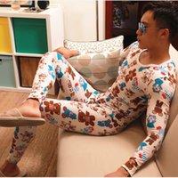 pijama camisa hombre al por mayor-AIBC Imprimir Para Hombre Ropa Interior Larga Térmica Long Johns Hombres Conjunto de Algodón Cálido Camisa Calzoncillos Pantalones Termica Pijama Térmico Traje Térmico