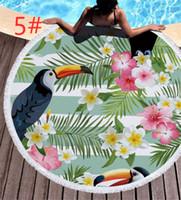 toallas funcionales al por mayor-Toucan de plantas tropicales Multi funcional manta de playa Siete tipos de patrones de fibra extrafina Toalla de playa suave y agradable para la piel