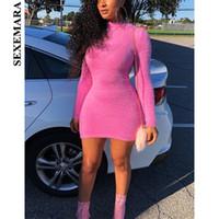 suéteres rosa sexy al por mayor-Boofeenaa neón rosa sexy bodycon dress mujeres cuello alto manga larga mini vestidos de suéter 2019 party club dress vestidos t4190605