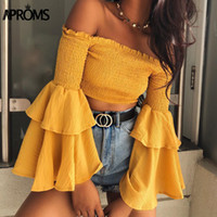 ingrosso le camicette gialle in cima-Aproms Sweet Ruffle Flare Sleeve Giallo Camicetta Elegante Off Shoulder Streetwear Chiffon Shirt Donna Fashion Crop Top Feamle Tees Y190510