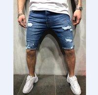herren blue jeans shorts großhandel-Sommer-Denim-Shorts männliche Jeans Herren Jogger Knöchel zerrissene blaue Denim-Shorts Loch gewaschen kurze Hosen