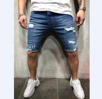 erkek yaz şortları toptan satış-Yaz denim şort erkek kot erkek jogging yapan ayak bileği mavi kot şort delik yıkanmış kısa pantolon yırtık