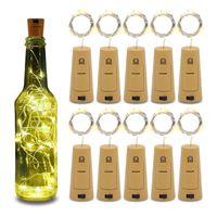 ingrosso tappi di bottiglia di vino bianco-20LED String Lampade vino del tappo della bottiglia luce bianca calda bianca Blu Verde Rosso sughero sagomato per la decorazione della festa di nozze nuovo