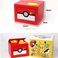 ingrosso banche di plastica per i bambini-Nuovi Pokemons Pikachu Electronic Money Box plastica rubare moneta salvadanaio denaro scatola sicura per i bambini regalo scrivania giocattolo